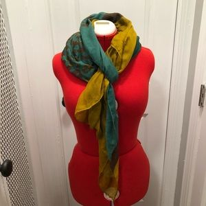 Green and Brown Leopard Print Scarf Wrap